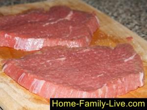 нарезать и отбить мясо