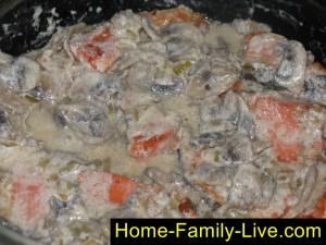 Зальем рыбу грибным соусом