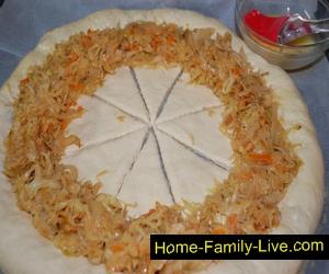 Капустно грибной пирог