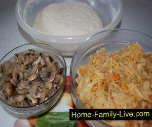 Начинка для капустно грибного  пирога