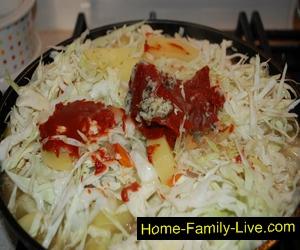 Капуста тушеные с картофелем и мясом