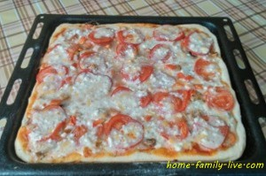 Пицца с грибами на кефирном тесте
